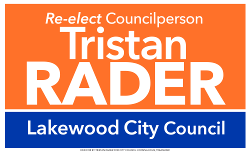 Tristan Rader for City Council yard sign